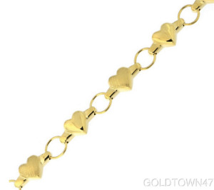 Baby Bracelet In 14K Yellow or White Gold Textured Fancy Heart