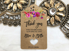 10 Kraft Brown Gift Tags Wedding Favour Bomboniere Personalised Thank you V3