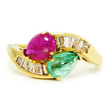 Vintage Cabochon Emerald Ruby Ring with Diamonds in 18kt Yellow Gold 2.58ctw