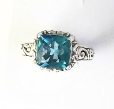 Sterling Silver Square Cut Blue Topaz Filigree Size 8 & 1/4 Ring R052201