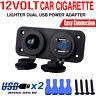 12V Car Boat Caravan 2 USB Cigarette Lighter Socket Splitter Charger LED Adapter