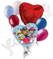 7 pc Paw Patrol Boys Heart Valentines Day Balloon Bouquet Be Mine Love You Chase