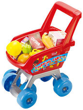 NEW Kids Shopping Trolley Cart Role Playing Toy Set Plastic Fruit 27 Pcs