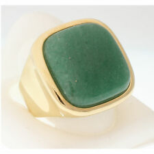 GREEN AGATE COCKTAIL RING SQUARE SHAPE BOLD IMPRESSIVE BEAUTY SIZE 7.5