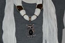 Scarf OWL Black Stone Charm Jewelry Necklace Choker Rings Loop Scarf WHITE