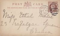 LONDON :1893  SW/56 numeral cancel on postal stationery card