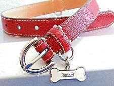 COACH RED LEATHER WITH WHITE BONE CHARM DOG COLLAR M MEDIUM M