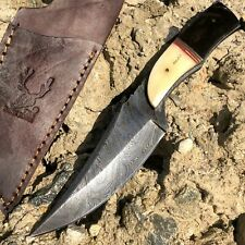 "8.5"" Damascus Steel Blade Fixed Hunting Skinner Knife Full Tang With Horn Handle"