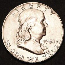 US Silver Half Dollar Benjamin Franklin 1962 D - Silber Bankfrisch Stempelglanz