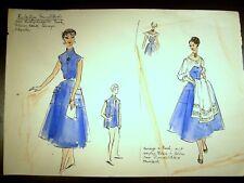 Ladies In Blue Fashion 1946-59 Original  Sketch By C. Schattauer Kelm