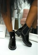New Womens Chelsea Ankle Boots Flat Ladies Biker Fashion studded Booties Shoes