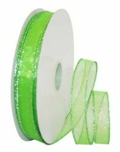 """5 Yds. SHEER LIME GREEN GLITZ WIRE EDGE RIBBON  7/8"""" Wide"""