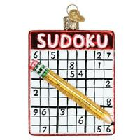 Old World Christmas SUDOKU (44159)N Glass Ornament w/ OWC Box