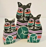 ViNtAgE 80's LAUREL BURCH Set of 3 Wooden CAT Figures Handpainted RARE ITEM