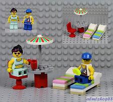 LEGO - Beach Scene w/ 2x Minifigure Umbrella Sun Lounger Popsicle Mug City Town