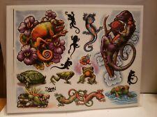 "Tattoo Flash Lizard frog Turtle 11"" × 8"" laminated copy tattoo ideas y4"