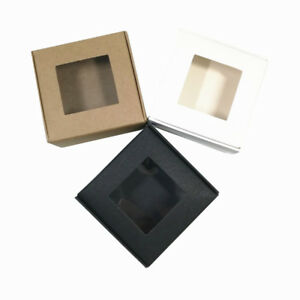 6.5x6.5x3cm Kraft Paper Foldable Box With Clear Window Candy Soap Candle Gift