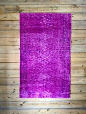 "8'7"" x 5'2"" Vintage Hand Knotted Overdyed Pink Turkish Wool Area Rug"