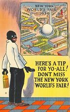 Vintage Postcard Black African American New York 1939 Worlds Fair Comic Tichnor