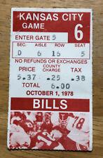 Vintage 1978 Buffalo Bills Ticket Stub vs Kansas City Chiefs Rich Stadium