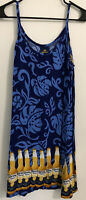 #33 Large Corona Sundress Spaghetti Strap Blue Yellow Tropical Floral Not Lined