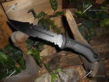 "Survivor/Knife/Bowie/Blade/Survival/Rubber grip/440 SS/Combat/Camping/12.75""/BK"
