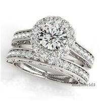 2.90CT Off White Moissanite Engagement Ring Set 925 Sterling Bridal Silver Ring