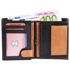 PORTAFOGLIO bicolore IN VERA PELLE Portamonete E Carte di credito x UOMO vintage
