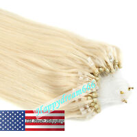 Micro Ring Beads Loop Tip Remy Human Hair Extensions Platinum Blonde 16Inch 100S