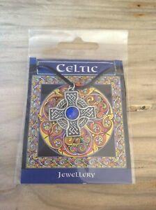 Celtic Interlaced Cross Circle Blue Gem Pendant On A Waxed Cord