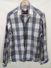Reiss Size M Grey Blue White Checked Long Sleeve Shirt