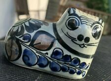 Vtg Tonala Mexico Pottery Cat blue floral 3 inches