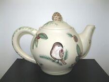 Pfaltzgraff Portfolio Winterwood Tan Canvas Pinecones Chickadee Rare Teapot