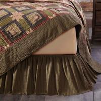 TEA CABIN Queen Bedskirt Dust Ruffle Rustic Primitive Cotton Plaid VHC Brands