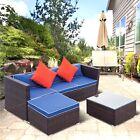 3pcs Outdoor Wicker Rattan Furniture Sofa Set Garden Patio Sectional W/ Cushions