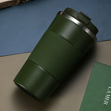 380ml Double Stainless Steel Coffee Cup Thermos Mug with Non-slip Case Green