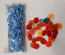 100 Plastic Golf Ball Markers + 100 Plastic Tees! Golf Enthusiasts
