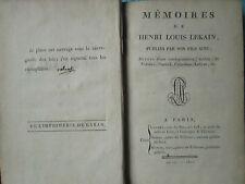 MEMOIRES DE HENRI LOUIS LEKAIN (célèbre tragédien), 1801.