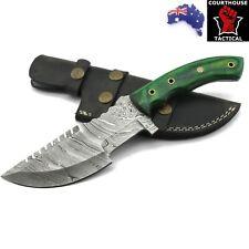 Handmade Tracker/Hunting Knife, Damascus Blade, Pakka Wood Handle Leather Sheath