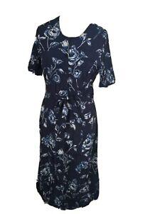 Vintage 1980s Size 12 Navy Blue White Floral Mid to Maxi Tea Dress