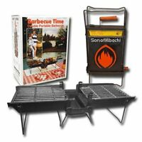 Mr. Flame Son of Hibachi Portable Vintage Cast Iron Charcoal Grill   Self Clean.