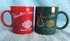 Harley-Davidson Christmas Mugs 1994 Red 1996 Green Set of 2