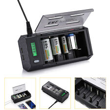 Universal 4 Bay LCD Smart AA AAA 9V C D NiMH NiCD Battery Charger w/ 2 USB Port