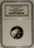 2007 S 25C  Idaho NGC Graded PF 69 Ultra Cameo US Coin Collectors 90% Silver