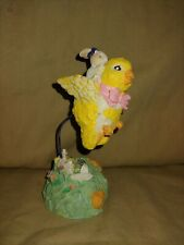 """EASTER DECOR ~ Cute Bunny Rabbit Riding on Chick's Back ~ 5"""" tall"""