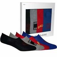 Calvin Klein Jeans Logo 4-Pack Men's Liner Socks Gift Box, Black/Grey/Red/Blue