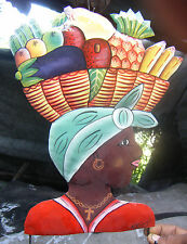 Black Woman with Fruit Basket on the Head Metal Wall Hanging Steel Oil Drum, 16""