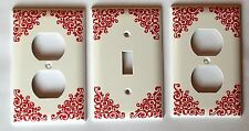 Damask Leaf ( red ) Switchplate/outlet covers