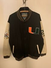 University of Miami Hurricanes varsity Jacket Blue Wool with Leather Sleeves XL