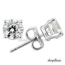 6MM ROUND BRILLIANT CUT CZ .925 STERLING SILVER FASHION STUD EARRINGS